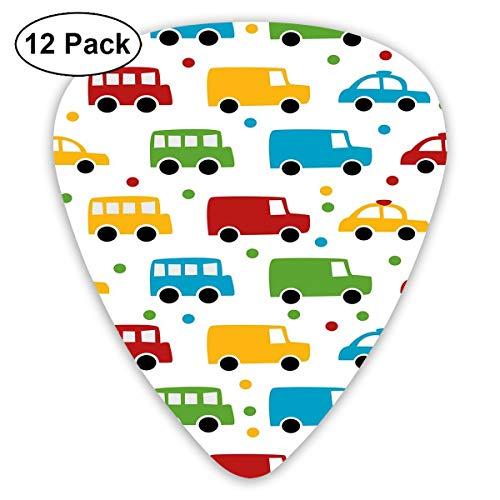 Gitaar Picks12 stks Plectrum (0,46 mm-0,96 mm), Levendige Gekleurde Silhouetten Van Vervoer Voertuigen Bus Taxi Automobile Kids Patroon, Voor Uw Gitaar of Ukulele