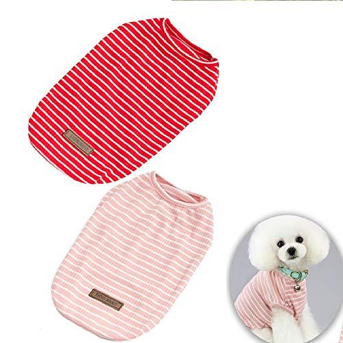 Hunde-Shirt, Baumwolle, gestreift, für kleine und mittelgroße Hunde, für Frühling und Sommer, 2 Stück