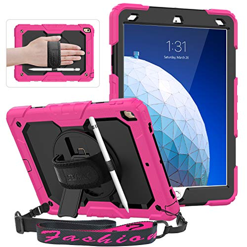 """iPad Air 3rd Gen 10.5"""" 2019 / iPad Pro 10.5"""" 2017 Case, SEYMAC Three Layers Hybrid Protection Case with 360 Degree Rotating Hand Strap & Kickstand, Shoulder Strap, Screen Protector, Pencil Holder,Pink"""