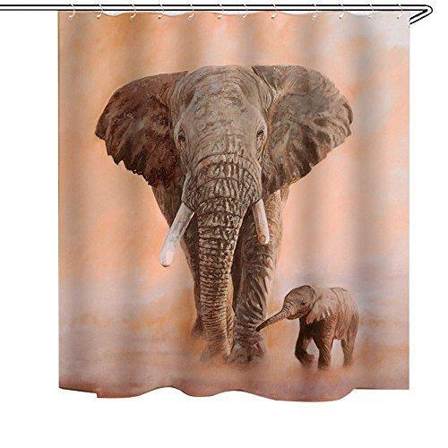 BAIGIO Duschvorhang 200x180cm Anti-Schimmel & Wasserabweisend Shower Curtain mit 12 Duschvorhangringen 3D Digitaldruck Elephant Mother-Kid