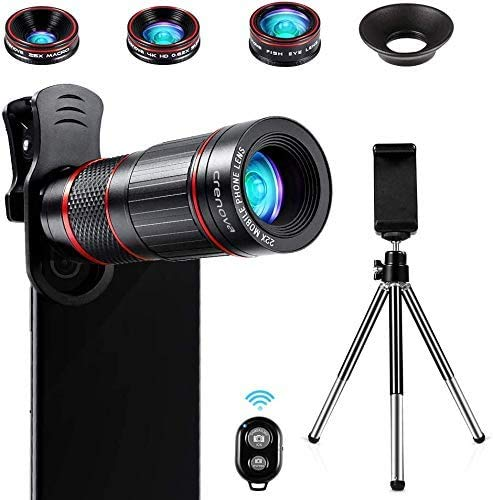 Crenova Phone Camera Lens Kit, 11 in 1 Universal 22X Zoom Telephoto Lens + 25X Macro Lens + 0.62X Wide Angle Lens + 235° Fisheye Lens + Bluetooth Shutter + Extendable Tripod for iPhone, Android Phone