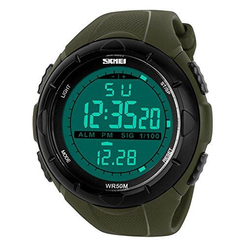 TTLIFE 1025 al aire libre Hombres Reloj Deportivo multifunción LED Relojes de pulsera 50 m resistente al agua, Armeegrün
