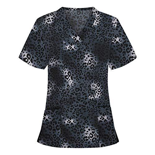 Yowablo Bluse Frauen Kurzarm V-Ausschnitt Tops Arbeitskleidung (S,1Schwarz)