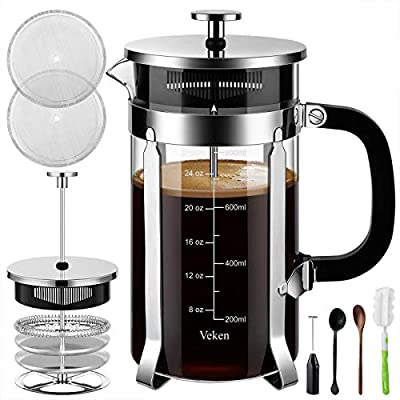 Veken French Press Coffee & Tea Maker, 304 Stainless Steel Heat Resistant Borosilicate Glass Coffee Press, 4 Filter Screens Durable Easy Clean, 100% BPA Free, 34 oz, Silver