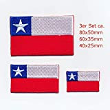 hegibaer 3 Chile Santiago de Chile Flaggen Südamerika Flags Aufnäher Aufbügler Set 1125