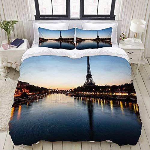 SmallNizi Funda nórdica, Torre Eiffel y Torre Eiffel, Juego de Ropa de Cama Conjuntos de Funda de edredón de poliéster de Lujo Ultra cómodo y Ligero