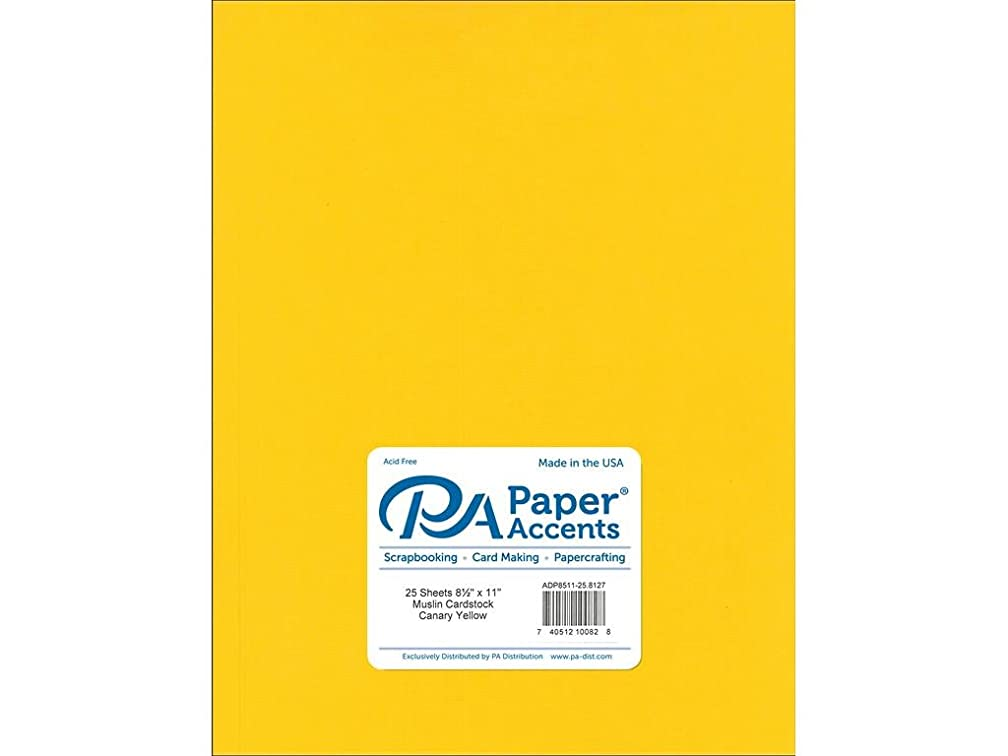 Paper Accents Cardstock 73 lb Canary Yellow Muslin 8.5