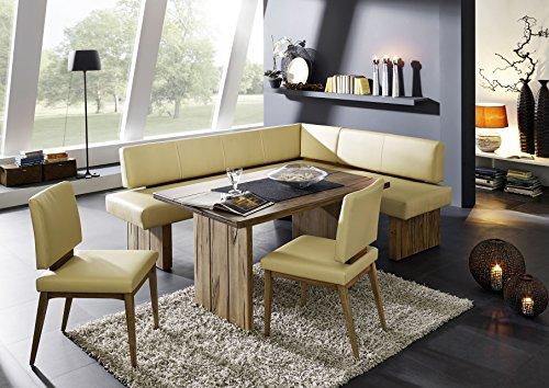 Naturnah Möbel Eckbankgruppe Summer Group aus bestem Leder und Massivholz, Wildeiche antik matt Lackiert. Bestehend aus Einer Eckbank, einem Tisch und Zwei Stühlen. (165 x 235 cm, Sand)