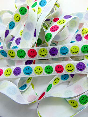 Smiley Face Print Fold Over Elastic, 5/8 inch FOE, Soft Printed Elastics, Flat Sewing Supplies, DIY Hair Tie Making, Happy Faces Pattern(5 Yards)