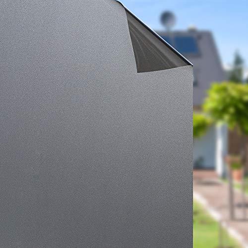 rabbitgoo Fensterfolie Blickdicht Sichtschutzfolie Selbstklebend Verdunkelungsfolie Fenster Klebefolie Statische Folie dunkel für Schlafzimmer Badezimmer Anti-UV Dunkelbraun 44.5 x 200 cm