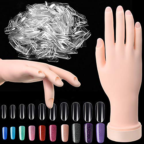 Nail Art Training Practice Hand Bendable Silicone Fake Hand and 500 Pieces White False Nails for Nail Art Training Display (Transparent Nails)