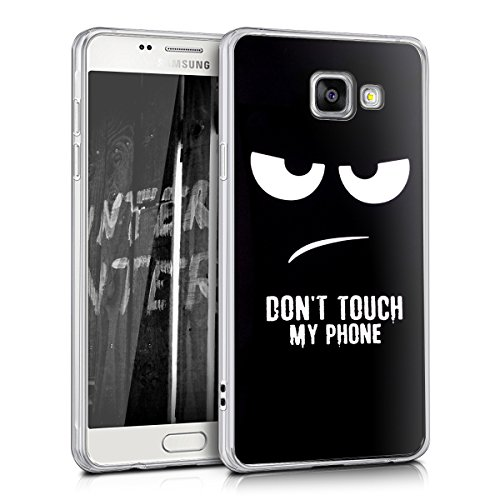kwmobile Funda Compatible con Samsung Galaxy A5 (2016) - Carcasa de TPU y Don't Touch my Phone en Blanco/Negro