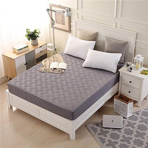 YFGY Sábana Ajustable Funda de colchón Acolchada Double y Gruesa, Almohadilla de Cama Permeable al Aire con Topper antibacterias para Dormitorio de Hotel Gris 150 * 200 cm
