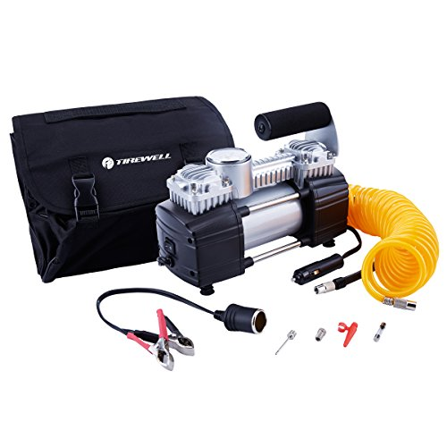 TIREWELL 12V Tire Inflator-Heavy Duty Double Cylinders Direct Drive Metal Pump 150PSI, Compressor with Battery Clamp and…