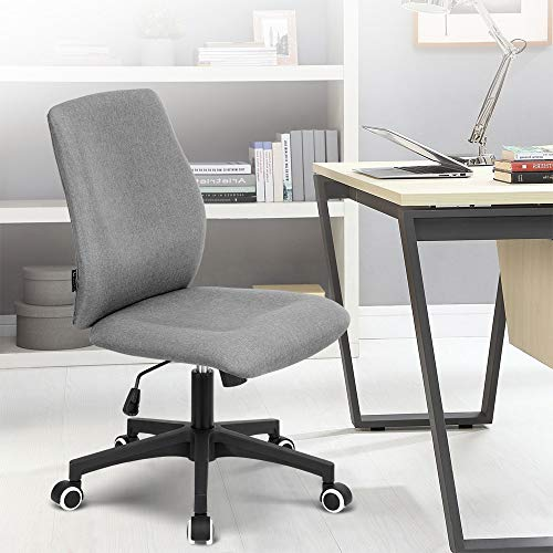 Okeysen Office Desk Chair, Ergonomic Mid Back Armless Task Studio Chair, Fabric Swivel Computer Chair Without Arms. (Gray)