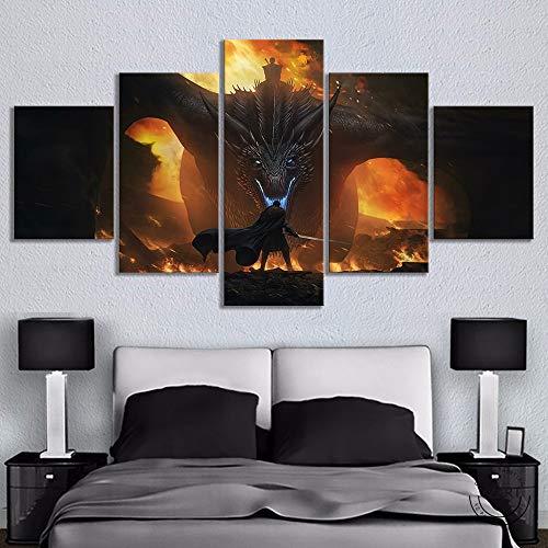 HGKJH 5 piezas de película de Juego de Tronos, póster de sala de estar, decoración del hogar, pintura de lienzo, arte de pared(Dimensiones incluido el marco)