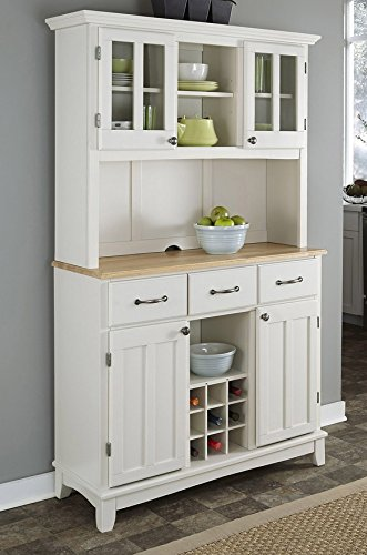 Home Styles Buffet of Buffets White Server with Natural Wood Top and Hutch
