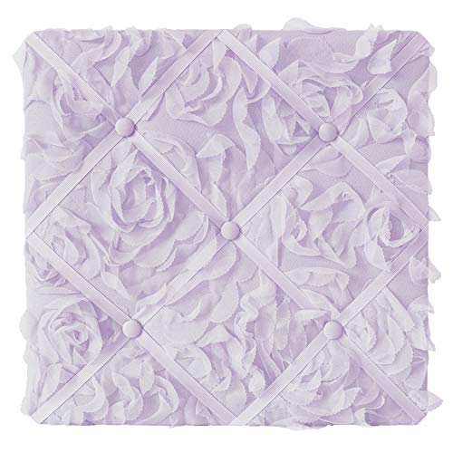 Sweet Jojo Designs Purple Floral Rose Fabric Memory Memo Photo Bulletin Board - Solid Light Lavender Flower Luxurious Elegant Princess Vintage Boho Shabby Chic Luxury Glam High End Roses