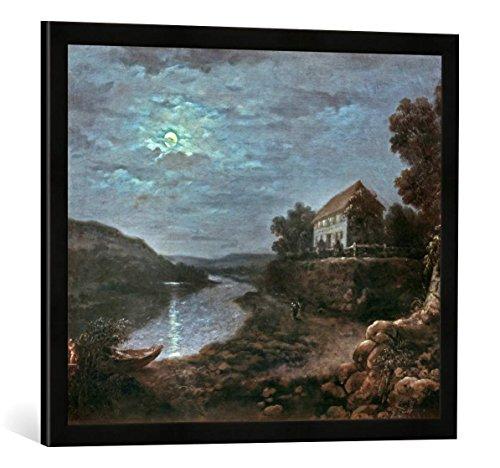 Gerahmtes Bild von Anton Graff Die Elbe bei Blasewitz oberhalb Dresdens bei Nacht, Kunstdruck im hochwertigen handgefertigten Bilder-Rahmen, 70x50 cm, Schwarz matt