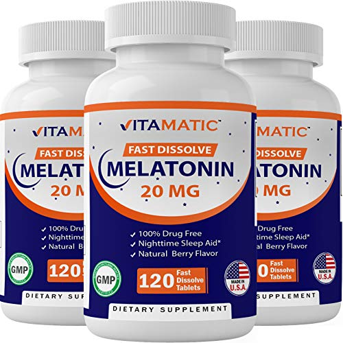 3 Pack - Vitamatic Melatonin 20mg Fast Dissolve 120 Tablets | Nighttime Sleep Aid | Natural Berry Flavor | Vegetarian, Non-GMO, Gluten Free (Total 360 Tablets)