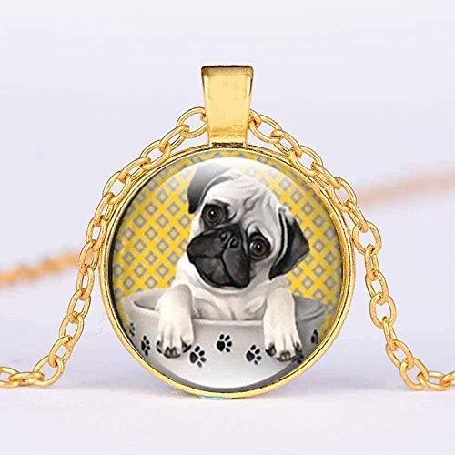LBBYMX Co.,ltd Halskette niedlichen Hund Anhänger Halskette Mops Hund in Pfote Teetasse Kunst Foto Kristallglas Edelstein Kette Halsreif