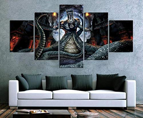 ZKPWLHS Impressions sur Toile 5 Pcs Dante's Inferno Jeu Affiche Peintures Salon Décor À La Maison Mur Art (Taille C) Pas De Cadre