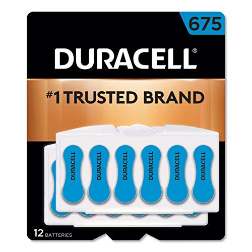 Duracell - Hearing Aid Batteries Size 675 (Blue) - long lasting battery with EasyTab for ease of installation - 12 count