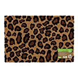 JVL Eco-Friendly Colour Pattern Latex Backed Coir Entrance Door Mat, Leopard Design