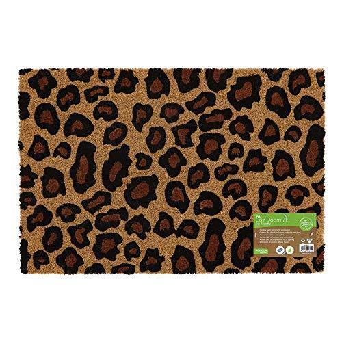 JVL - Felpudo para Entrada Colorido, Respetuoso con el Medio Ambiente, con Parte Trasera de látex Leopardo Talla única marrón