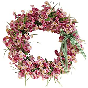 Artificial Flowers Spring Wreath, SilkFlowers Winter Jasmine,for Mother's Day, Carnation Wreath, Door Ring Day