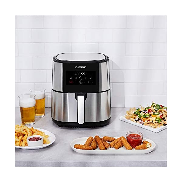 Chefman TurboFry Air Fryer, XL 8-Qt Capacity for Family Cooking, BPA-Free w/Dishwasher Safe Basket, Nonstick Square…