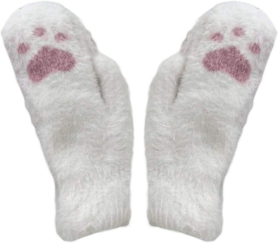 Panda Legends 1 Pair Womens Girls Winter Warm Cozy Mitten Gloves Cute Cat Paw Knit Gloves Christmas Birthday Gift, White