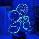 3D Luz de Ilusión LED Luz de Noche Juego Mega Man Figura Niños Interruptor Táctil Regalo de Rockman Lámpara de Mesa USB Creativa para Habitación de Niños Megaman