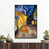 キャンバス塗装 夜の有名なゴッホカフェテラス油絵ポスターとリビングルームの壁の芸術の絵 50*75cm