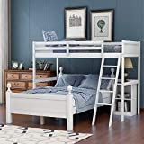 Twin Over Full Loft Bed for Kids, Wood Bunk Bed Twin Over Full with Night Stand L Shaped Twin Over Full Loft Bunk with Guardrail and Ladder