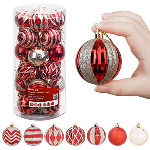 Homde Christmas Ornaments 24ct 2.36 inches/60mm Hanging Balls for Xmas Tree Shatterproof Christmas Tree Decorations with Hanging Rope (Red & Gold)