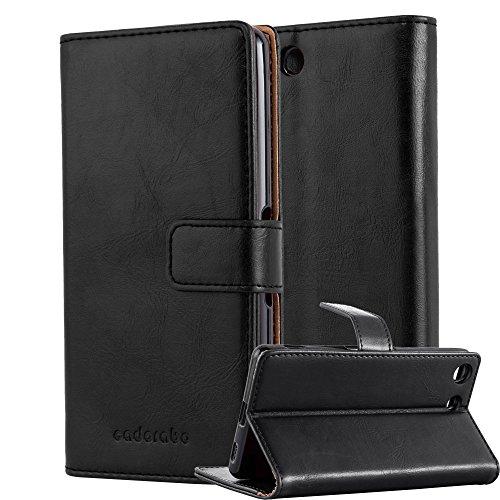 Cadorabo Hülle für Sony Xperia M5 - Hülle in Graphit SCHWARZ – Handyhülle im Luxury Design mit Kartenfach und Standfunktion - Case Cover Schutzhülle Etui Tasche Book