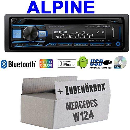 Autoradio Radio Alpine CDE-203BT Bluetooth CD USB MP3 1-DIN Auto Einbauzubehör - Einbauset für Mercedes W124 - JUST Sound Best Choice for caraudio