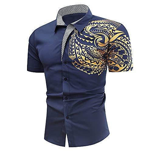 Camisa Hombre Verano Slim Fit Moderno Hombre Cuello Kent Camisa Personalidad Estampada Hombre Manga Corta Funcional Camisa Urbana Creativa Negocios Hombre Casual Camisa C-Blue XXL
