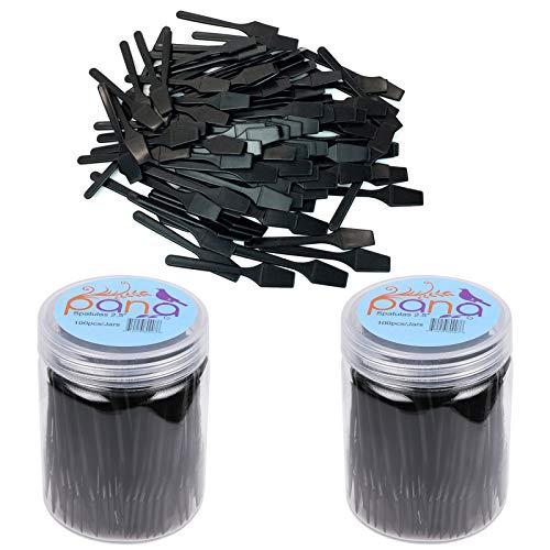 "Beauticom Pana Brand (200 Pieces of Black Color) Cosmetic Make Up Disposable Plastic 2.5"" Spatulas Skin Care Facial Cream Mask Spatula"