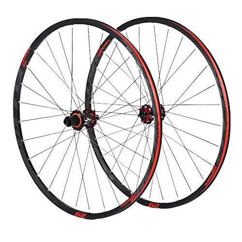 Ruedas Ciclismo,29 Pulgadas Buje de Fibra de Carbono Manipulación Estable Admite Velocidad 8-9-10-11 Apto para Bicicletas MTB Juego Ruedas Bicicleta Red,29 Inch