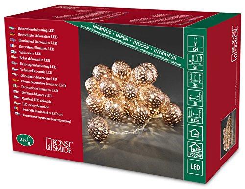 Konstsmide LED Dekolichterkette, bronzefarbene Metallbälle, 24 warm weiße Dioden, 24V Innentrafo, transparentes Kabel