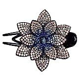 vijTIAN Clip para el pelo BRRhinestone doble flor Clip para el pelo, flexible y duradero, diseño de perlas para mujeres, clip para el pelo, accesorios para el pelo de las niñas (B)