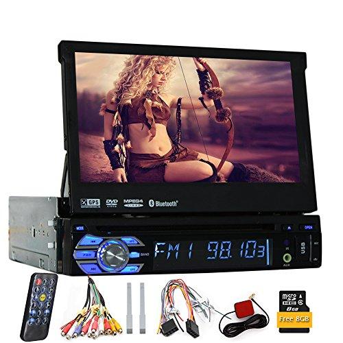 7 Pouces Voiture 1din Simple Autoradio stéréo avec écran de Navigation GPS Amovible Panneau HD Tactile numérique Moniteur Bluetooth Lecteur DVD de Voiture + USB/SD Aux Subwoofer Télécommande par E