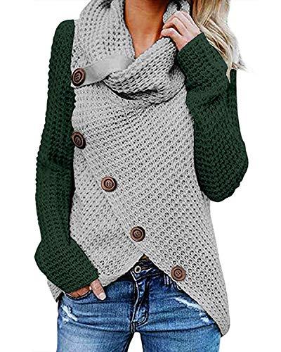 kenoce Jersey Mujer Jersey de Cuello Alto Mujer Jersey Grueso Pullover Jersey Jersey Dobladillo Asimétrico F-Verde Gris L