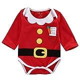 Mameluco Disfraz para Bebé Niños Unisex con Capucha Manga Larga con Estampado de Papá Noel para Navidad Halloween Año Nuevo 0-24 Meses