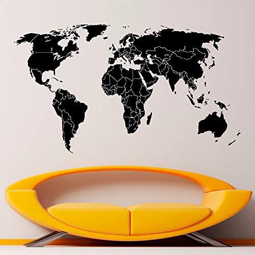 jiuyaomai Weltkarte Wandaufkleber Welt Umriss Karte Vinyl Wandaufkleber Home Art Wandbild Innen Wohnzimmer Dekoration Poster B71x40cm