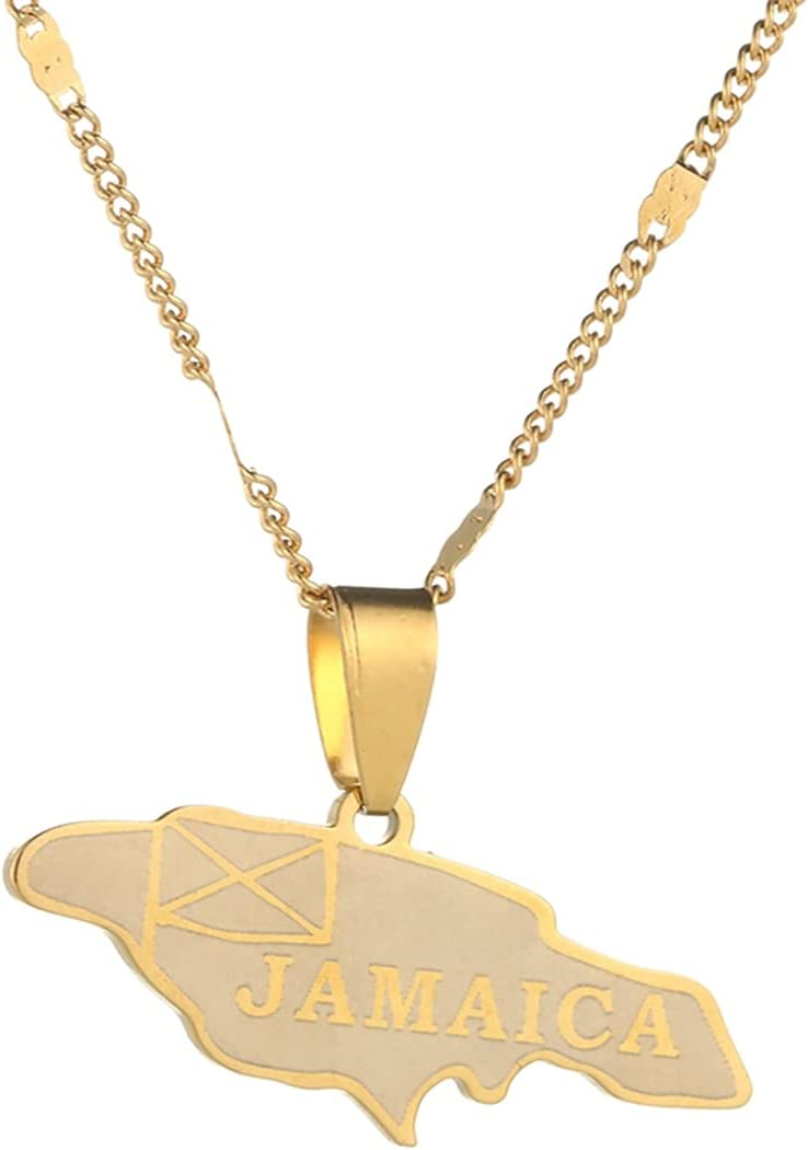 LIPPIP88 - Stainless Steel Jamaica Map Pendant Necklaces Jamaican Map Chain Jewelry (Gold)