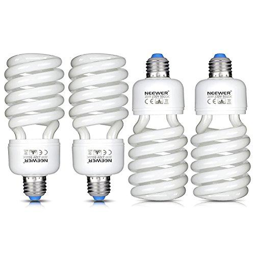 Neewer® 35W 220V 5500K Tri-Phosphor Espiral CFL luz del día equilibrada Bombilla en E27Socket para Fotográfico y Iluminación de Video Estudio (4Unidades)