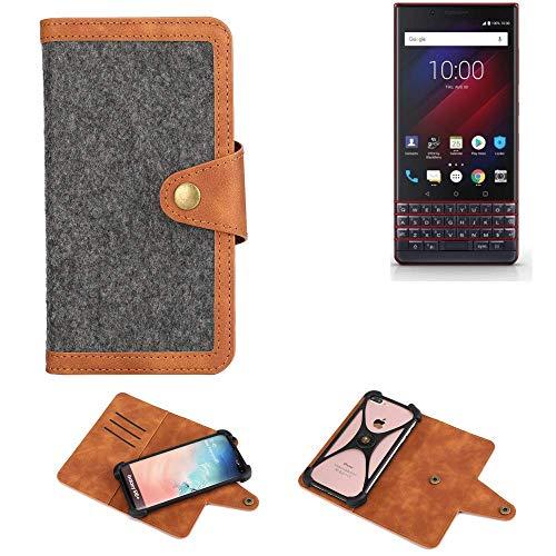 K-S-Trade Handy-Hülle Für BlackBerry Key 2 LE Dual-SIM Schutz-Hülle Filz-Hülle Kunst-Leder Dunkelgrau Braun (1x)